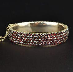 Victorian Antique Bohemian Garnet Bracelet  #Garnet #Rose #Antique #Bohemian #Gold #Bracelet #Victorian #Art #Seal #Intaglio