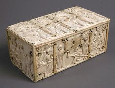 Casket Date: 14th century Geography: Made in France Culture: French Medium: Ivory Dimensions: Overall: 3 3/16 x 7 3/16 x 4 1/8 in. (8.1 x 18.3 x 10.5 cm) Lid: 7 3/16 x 4 1/8 x 3/16 in. (18.3 x 10.5 x 0.5 cm) Classification: Ivories Credit Line: Gift of George Blumenthal, 1941 Accession Number: 41.100.159a, b