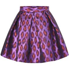 French Connection Disco Leopard Flared Skirt ($198) ❤ liked on Polyvore