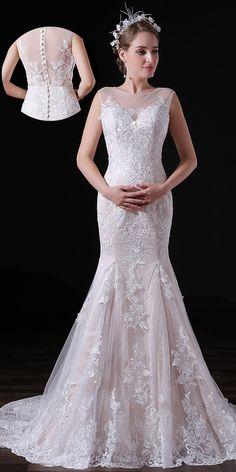 619c4254905  122.99  In Stock Glamorous Tulle Jewel Neckline Floor-length Mermaid  Wedding Dresses With Lace Appliques - shemarriage.com