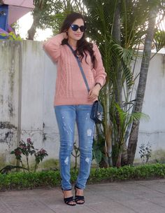 I paired a blush pink knit with ripped jeans and blue accessories! More pics on>> http://www.rakhshanda-chamberofbeauty.com/2015/01/blush-pink-and-winter-blues.html
