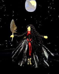Morrigan, Moon Goddess, Pagan Wiccan Hand Crafted Altar Figure. Crow / Raven