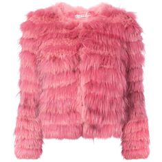 Alice+Olivia fur jacket ($1,395) ❤ liked on Polyvore featuring outerwear, jackets, alice olivia jacket, red fur jacket, fur jacket and red jacket
