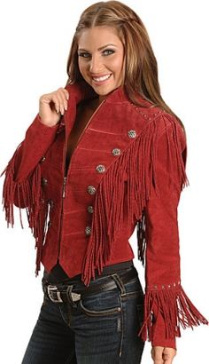 Red Sheplers Cowgirl Western Fringe Suede Leather Coat Jacket