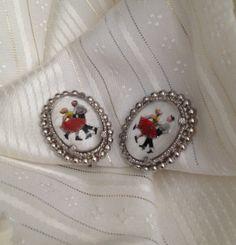 Vintage 60s Earrings Jive Dancers under Lucite by BarbeeVintage, $14.00