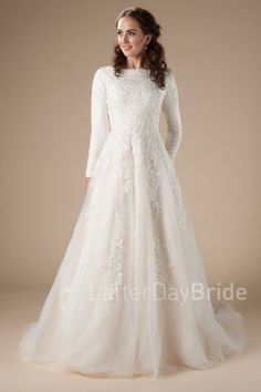 long sleeved wedding dress with lace, the Wilder at latter day bride