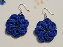 pendientes de ganchillo flor azul perlas de vidrio