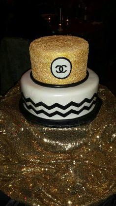 Sequin and chevron cake