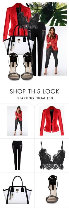 """""""SHEIN - Black PU Pant"""" by alexa-anita2010 ❤ liked on Polyvore featuring Missguided, Balmain and Isabel Marant"""