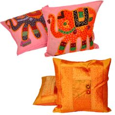 Cushion Covers MRP:Rs.527/- Free Shipping & COD Available  Order Here: http://www.artncraftemporio.com/cushion-covers-1940.html This multicolour 2 piece cushion cover set is graced with hand stitched patch work adorned with exquisite designs. The covers are finished with broad cotton piping for graceful appearance.