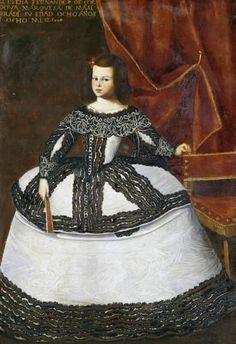 Portrait of Dona Elena Fernandez de Cordova, aged eight wearing a white and brown embroidered dress by Juan Bautista Martinez del Mazo Baroque Fashion, European Fashion, Fashion Art, Vintage Fashion, Spanish Woman, Spanish Ladies, 17th Century Fashion, Court Dresses, Spanish Fashion