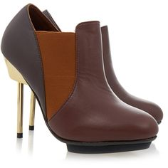 United Nude Brown Pin Maomi Ankle Boot (400 RON) ❤ liked on Polyvore featuring shoes, boots, ankle booties, brown, leather boots, leather ankle boots, brown leather booties, brown booties and high heel ankle boots
