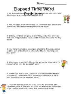 Free-This worksheet includes word problems related to elapsed time. Some of the questions involve the student's discovering the elapsed time, finding th. Teaching Time, Student Teaching, Teaching Ideas, Time Word Problems, Math Lessons, Spanish Lessons, Learning Spanish, Fourth Grade Math, Elapsed Time