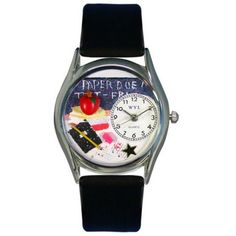 Whimsical Womens Kindergarten Teacher Red Leather Watch, Whimsical Wat