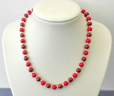 Crimson and burgundy glass pearl bead necklace. Handcrafted in UK. Gift or treat