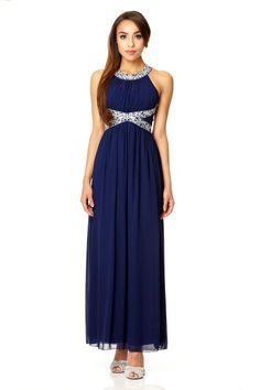 Womens Navy Chiffon Maxi Party Dress Quiz Prices Cheap Price DNe1Yjz