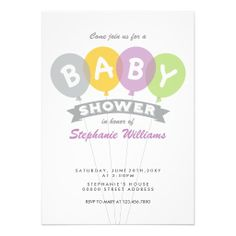 Colorful Balloons Baby Shower Invitation Grey