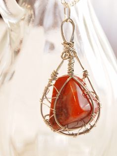 Wire wrapped stone pendant top. $20.00, via Etsy.