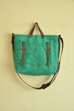 Make with slightly bigger handle. Waxed canvas tote leather accessories petroleum green messenger bag handbag shoulder bag brown cotton straps. $85.00, via Etsy.