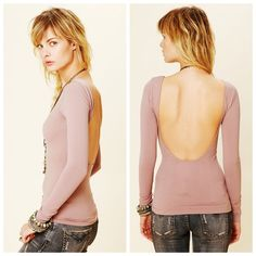 Free People Blush Pink Low Back Top This is the Intimately Free People Solid Low Back Cami in a rare blush color. Such a lovely shade of pink. The low scoop back and long sleeves will make you feel like an off-duty ballerina! Would look great with a strappy bralet. Very stretchy & comfortable. Completely solid, not see through at all. Size M/L, true to size, excellent condition. Shame it's too big for me, but I'm sure someone else will love it! Free People Tops Tees - Long Sleeve