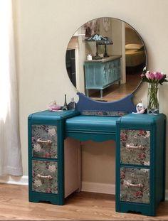 Items similar to SOLD-Gorgeous Waterfall Vanity on Etsy Furniture Vanity, Deco Furniture, Furniture Makeover, Vintage Furniture, Rustic Furniture, Furniture Ideas, Modern Furniture, Outdoor Furniture, Refurbished Desk