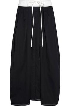 Chloé - Two-tone Cotton-twill Midi Skirt - Navy - FR36