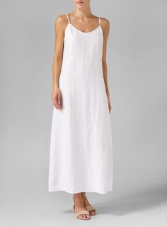 Linen High-Low Extra Long Tunic With Spaghetti Strap Long Dress