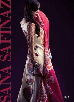 Boski silk suit with back embroidery. Cotton silk shalwar. Pure silk dupatta & silk sleeves. $155 (un stitched) #SanaSafinaz