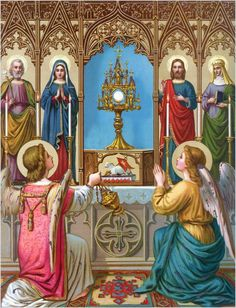 'When you are before the altar where Christ reposes, you ought no longer to think that you are amongst men; but believe that there are troops of angels and archangels standing by you, and trembling with respect before the sovereign Master of Heaven and earth. Therefore, when you are in church, be there in silence, fear, and veneration.'  St. John Chrysostom
