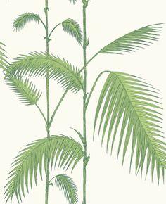 Remarkable green/white botanical designer wallcovering by Cole