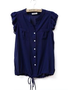 Ruffle Sleeveless Round Neck Solid Chiffon Shirt Blue