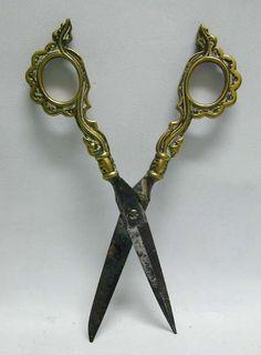 *ART NOUVEAU ERA SCISSORS: in their original sheath, Ornate German Brass Library Scissors in Sheath, c. 1890, from antiquemasterpieces on Ruby Lane