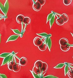 Cherries on Red Oilcloth Fabric  Sold by the 1/2 by oilclothaddict