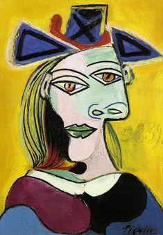 Pablo Picasso, 1939 Tête de femme au chapeau bleu à ruban rouge