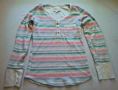 Victoria's Secret Womens Striped Long Sleeve Henley Top Small Cotton Blend S #89 in Clothing, Shoes & Accessories, Women's Clothing, Tops & Blouses   eBay