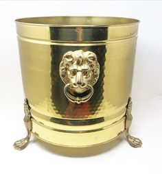 Vintage large scale solid brass lion head planter. Unique Home Decor, Home Decor Items, Head Planters, Commercial Design, Brass Color, Solid Brass, Decorative Items, Women Accessories, Metal