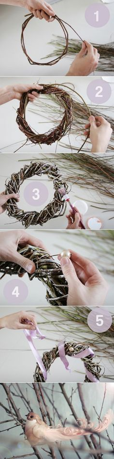 minimalistisc christmas wreath with pink ribbon or could make into an all year round wreath Decor Crafts, Diy And Crafts, Christmas Crafts, Christmas Decorations, Christmas Ornaments, Deco Floral, Diy Weihnachten, Creative Decor, How To Make Wreaths