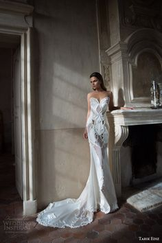 tarik ediz white 2015 swarovski sleeveless illusion neckline sweetheart sheath wedding dress full view