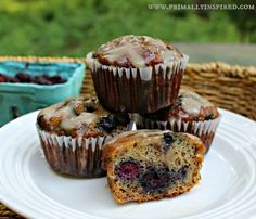 Easy Black Raspberry Coconut Flour Muffins With Vanilla Maple Glaze #PrimallyInspired