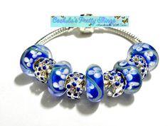 european bead Bracelet Blue charms PB832 by CookalasHouseOfCards, $12.99