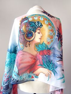 Silk scarf Angel of Fire and Ice inspired by Alphonse Mucha 'Feather' in Art Nouveau style.