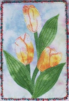 Quilted Postcard- Yellow Tulips