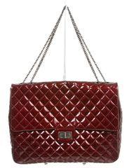 Chanel Bordeaux Patent Leather Quilted LTD Reissue 2.55 XL Maxi Handbag