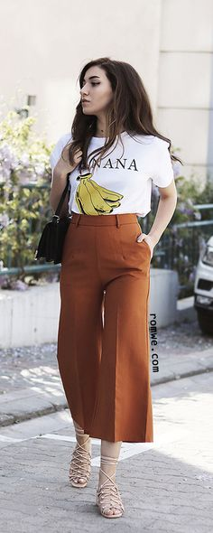 White Banana Print Casual T-shirt