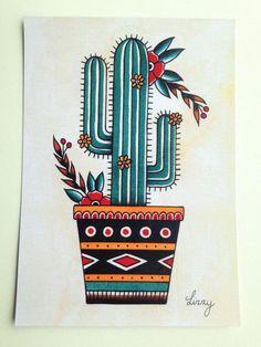 art tattoo Cactus tattoo flash art print by llizzardqueen on Etsy Cactus Drawing, Cactus Painting, Cactus Art, Cactus Plants, Cactus Doodle, Mini Cactus, Cactus Flower, Back Piece Tattoo, Pieces Tattoo