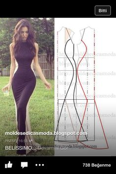 Diy dress pattern Love the look. Pattern Cutting, Pattern Making, Diy Clothing, Sewing Clothes, Dress Sewing Patterns, Clothing Patterns, Fashion Sewing, Diy Fashion, Costura Fashion