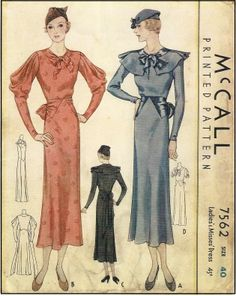McCall #7562 - Ladies 1933 Dress With Cowl Sleeve - Sewing Pattern