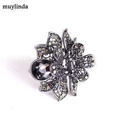 USA Vintage Hair Claw Clip Rhinestone Crystal Hairpin Elegant Jeweled Black 02