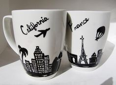 Long Distance Friendship Mugs WITHOUT HEARTS Skyline Go by 39Cups, $39.95  I like that these are more then just the state shape