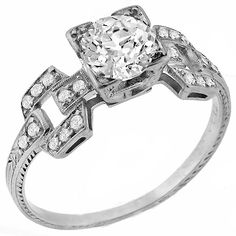 Art Deco 1.00ct Old Mine Cut Diamond Platinum Engagement Ring - See more at: http://www.newyorkestatejewelry.com/engagement-rings/antique-1.00ct-diamond-engagement-ring/24460/3/item#sthash.a2YSu10F.dpuf